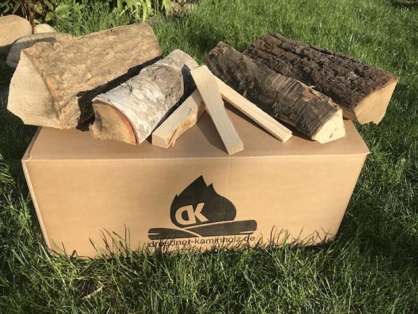 1 Starter-Box Kaminholz trocken (kammergetrocknet) 29cm - Birke, Buche, Eiche und Esche